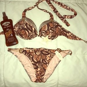 Victoria's Secret bikini top only, pink/black 34 B